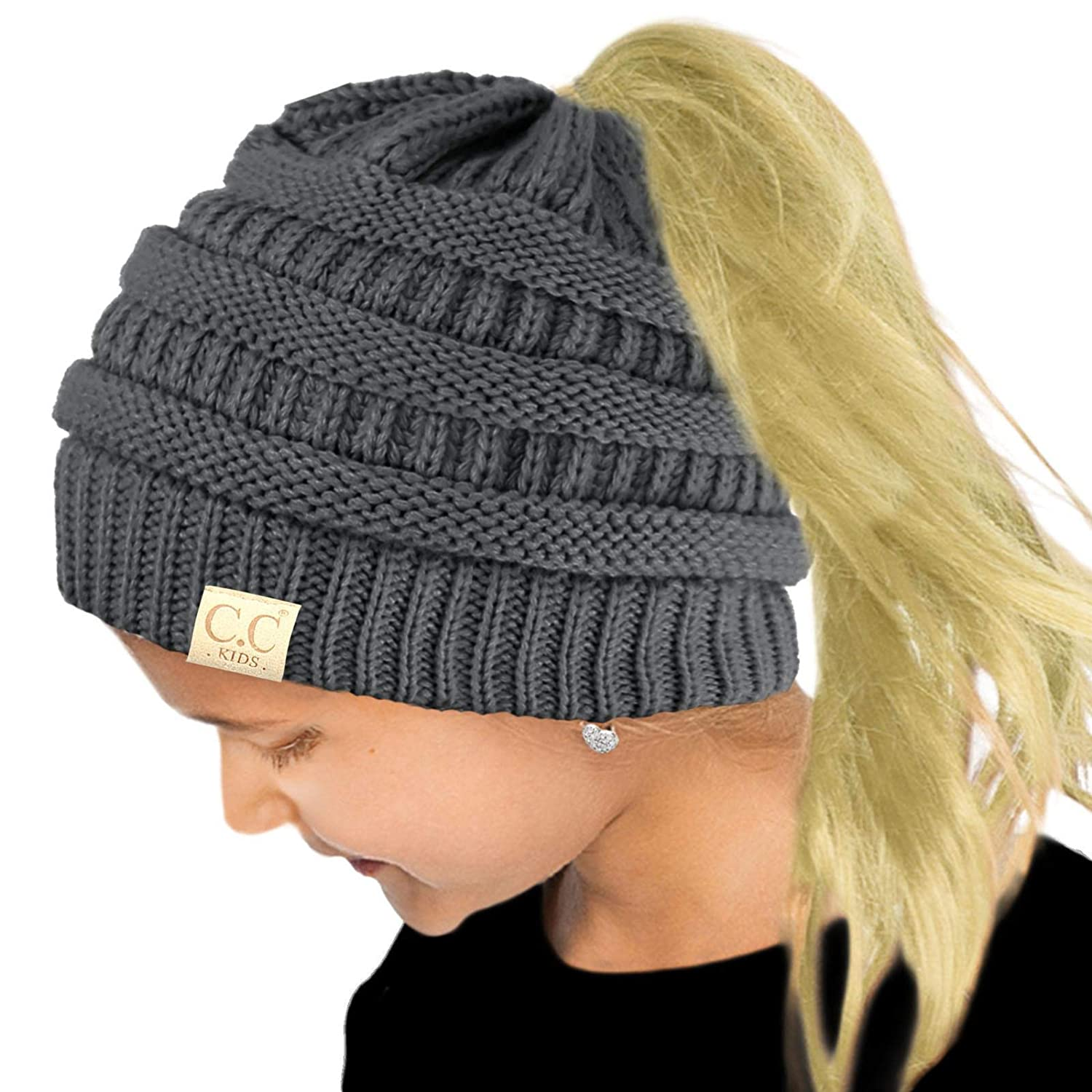 ed8600e8de780 Amazon.com  Kids Ponytail Messy Bun BeanieTail Soft Winter Knit Stretch  Beanie Hat Quad Black Multi  Clothing