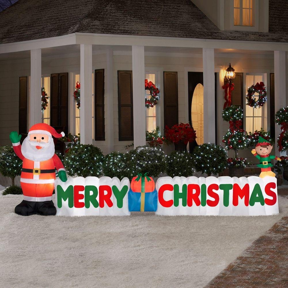 12 Ft. Long Outdoor Inflatable Merry Christmas Sign w/ Santa Clause & Elf | Great Lawn or Yard Holiday Decor w/ Light | Perfect Accent to Other Seasonal Ornaments Gemmy Industries 89991