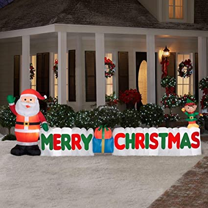 12 ft long outdoor inflatable merry christmas sign w santa clause elf - Christmas Lawn Decorations Amazon