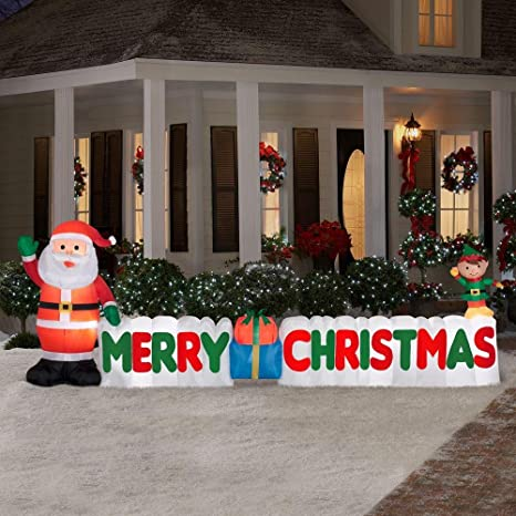 12 ft long outdoor inflatable merry christmas sign w santa clause elf