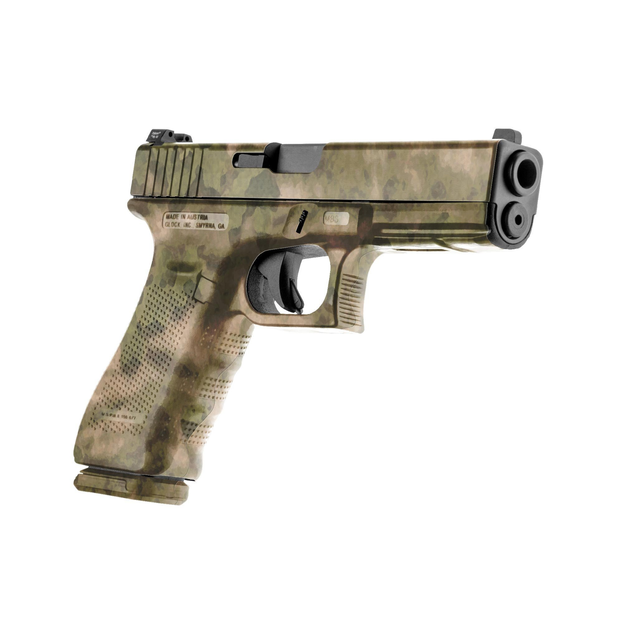 GunSkins Pistol Skin Camouflage Kit DIY Vinyl Handgun Wrap with precut Pieces (A-TACS FG) by GunSkins