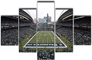 Art Work for Home Walls Seattle Seahawks Washington Paintings NFL Football Stadium Pictures 5 Pcs/Setl Canvas Wall Art Modern Artwork Giclee Home Decor for Bedroom Framed Ready to Hang(60''Wx40''H)