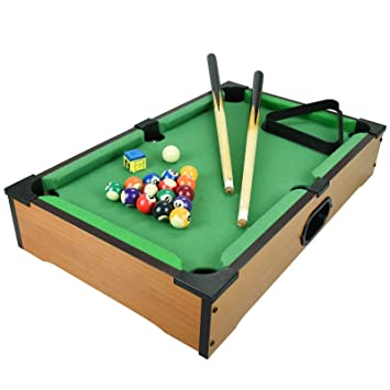 Kids Mini Wooden Table Top Pool Play Snooker Game Set Felt Surface With 2  Mini Cues