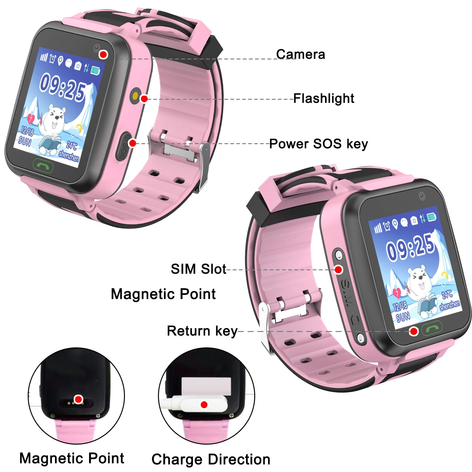 [SIM Card Include] Kids Smart Watch-Upgrade Real GPS Tracker Waterproof WiFi Smart Watch Phone for Boys Girls with Fitness Tracker Pedometer Camera Alarm Clock Kids Back to School Gifts (Pink) by GBD (Image #7)