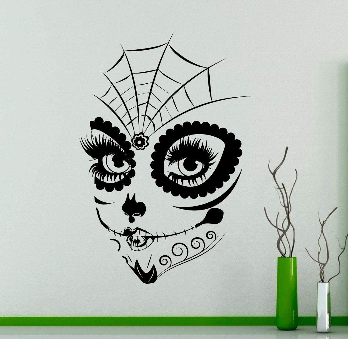 Place Sugar Skull Girl Face Wall Vinyl Decal Sticker Make Up Home Art Decor Living Room Murals Housewares - Removable Design Made in USA - 12x15 Inch