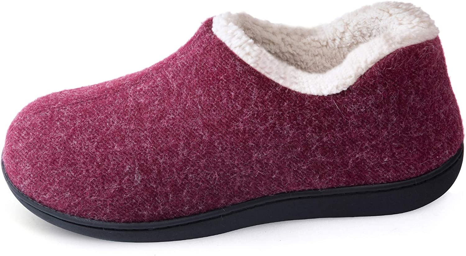 ULTRAIDEAS Women's Cozy Memory Foam Closed Back Slippers with Warm Fleece Lining, Wool-Like Blend Cotton House Shoes with Anti-Slip Indoor Outdoor Rubber Sole