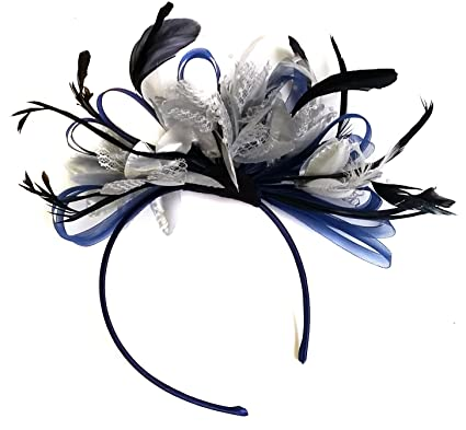 Navy Silver Feather Hair Fascinator Headband Wedding and Royal Ascot ... 2c1545e6ec8