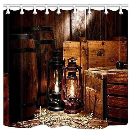 KOTOM West Cowboy Shower Curtain Lantern And Wood Style Decor Polyester Fabric Anti
