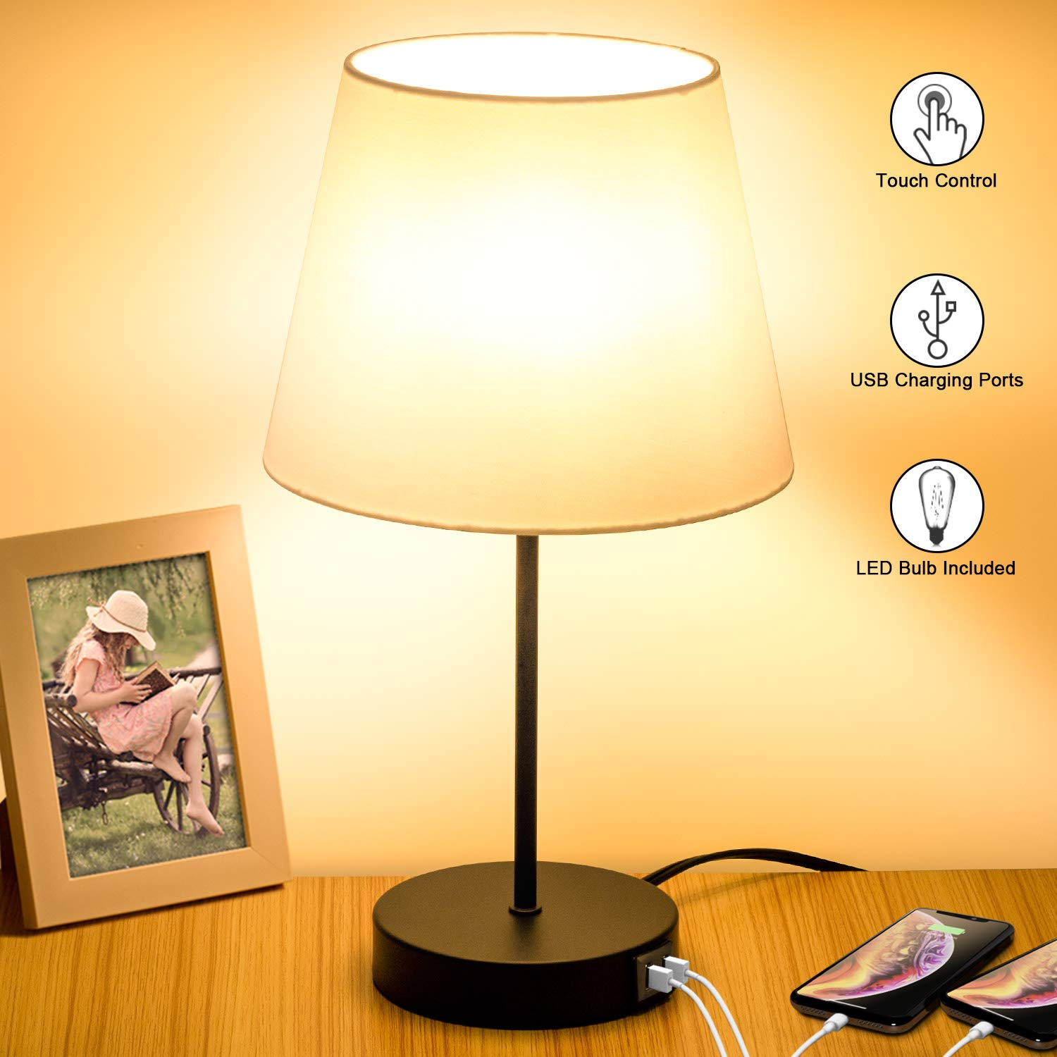 Touch Control Table Lamp, 2 USB Charging Ports, 3 Way Dimmable Bedside Nightstand Lamp, Fabric Shade Modern Desk Reading Lamp for Bedroom Living Room Dorm 6W 2700K E26 LED Edison Bulb Included
