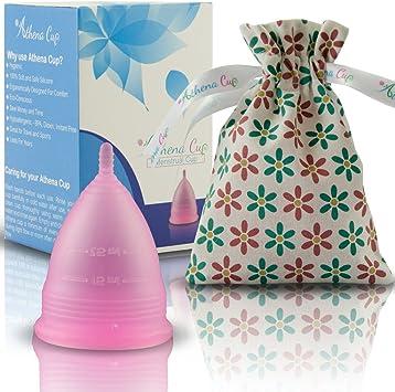 Athena Copa Menstrual – La copa menstrual más recomendada - Incluye una bolsa de regalo - Talla 2, Rosa transparente - ¡Ausencia de pérdidas ...