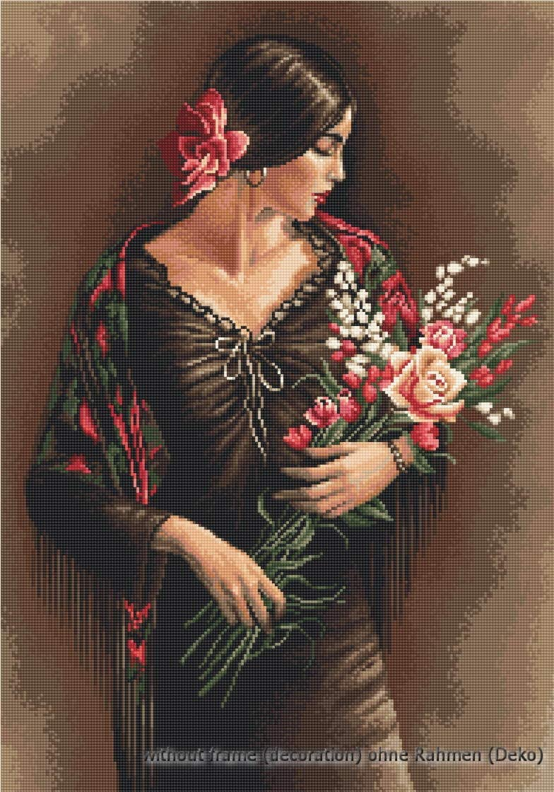 Luca-S LB473 - Kit de Punto de Cruz contado, 41 x 28 cm, diseño de Dama española con Ramo de Flores