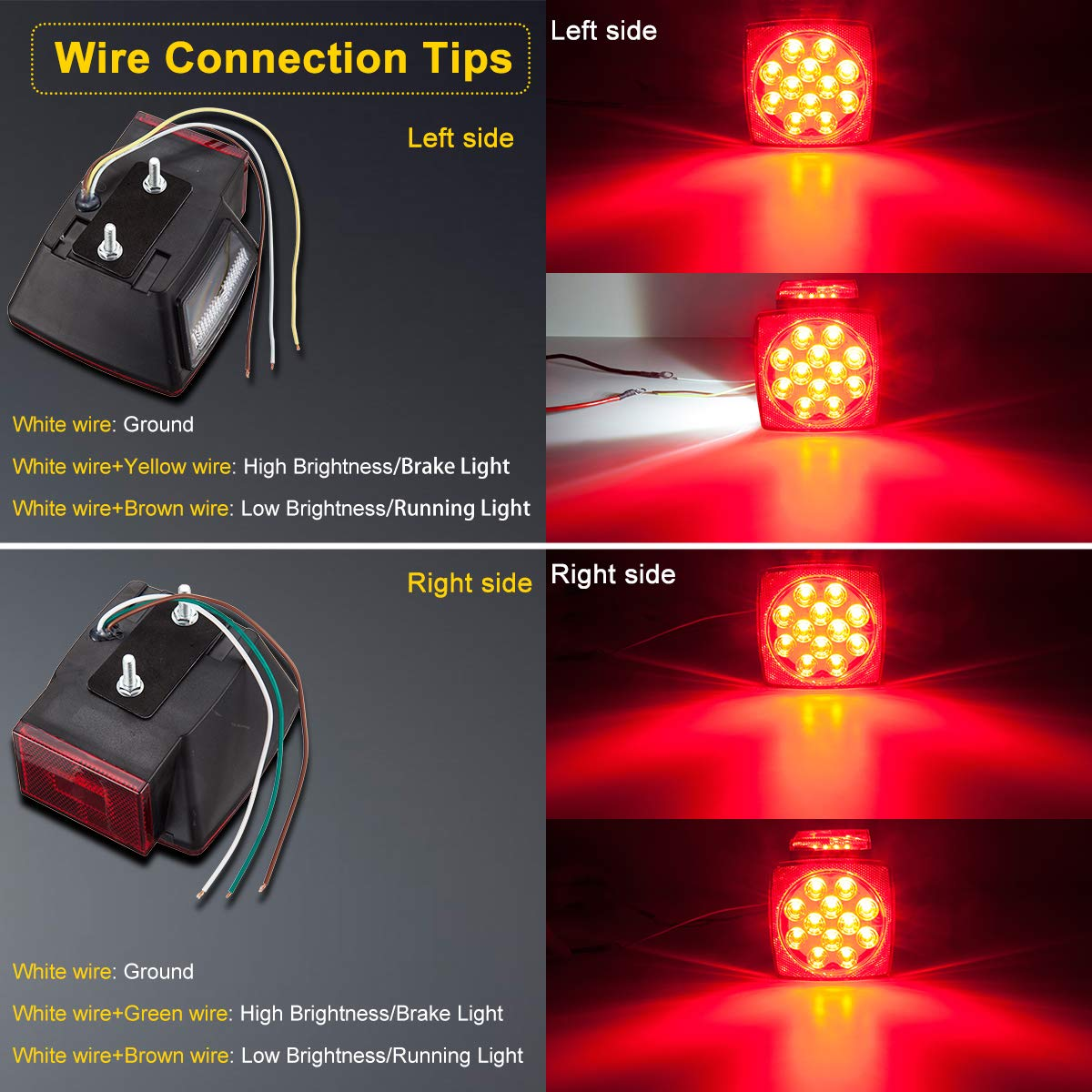 Limicar Led Square Trailer Lights Kit With 12 Amber Side Marker Light Together Wiring Waterproof 12v Stop