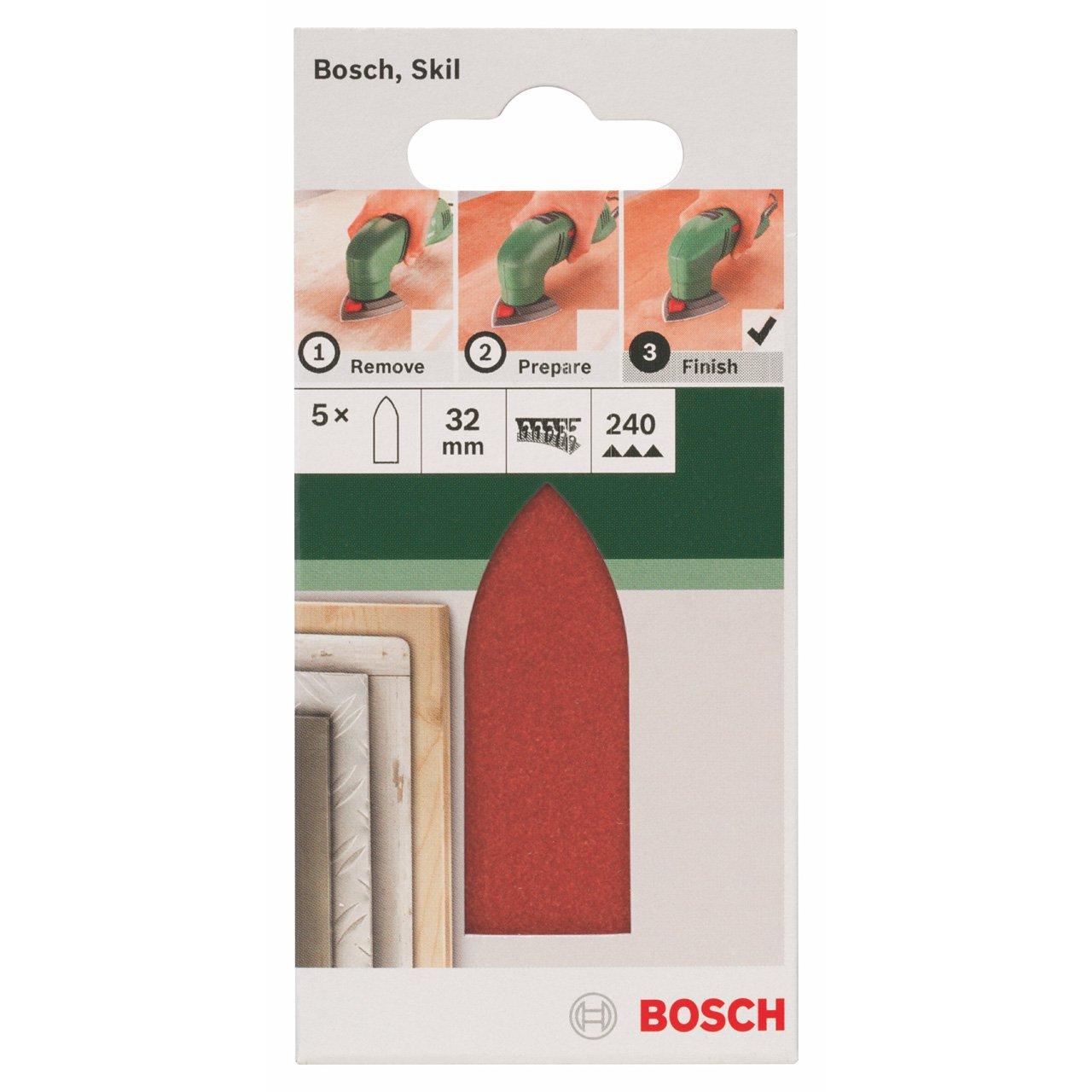 Bosch 2609256A39 Feuilles abrasives pour Ponceuses Delta 32 mm Grain 120 Lot de 5 feuilles