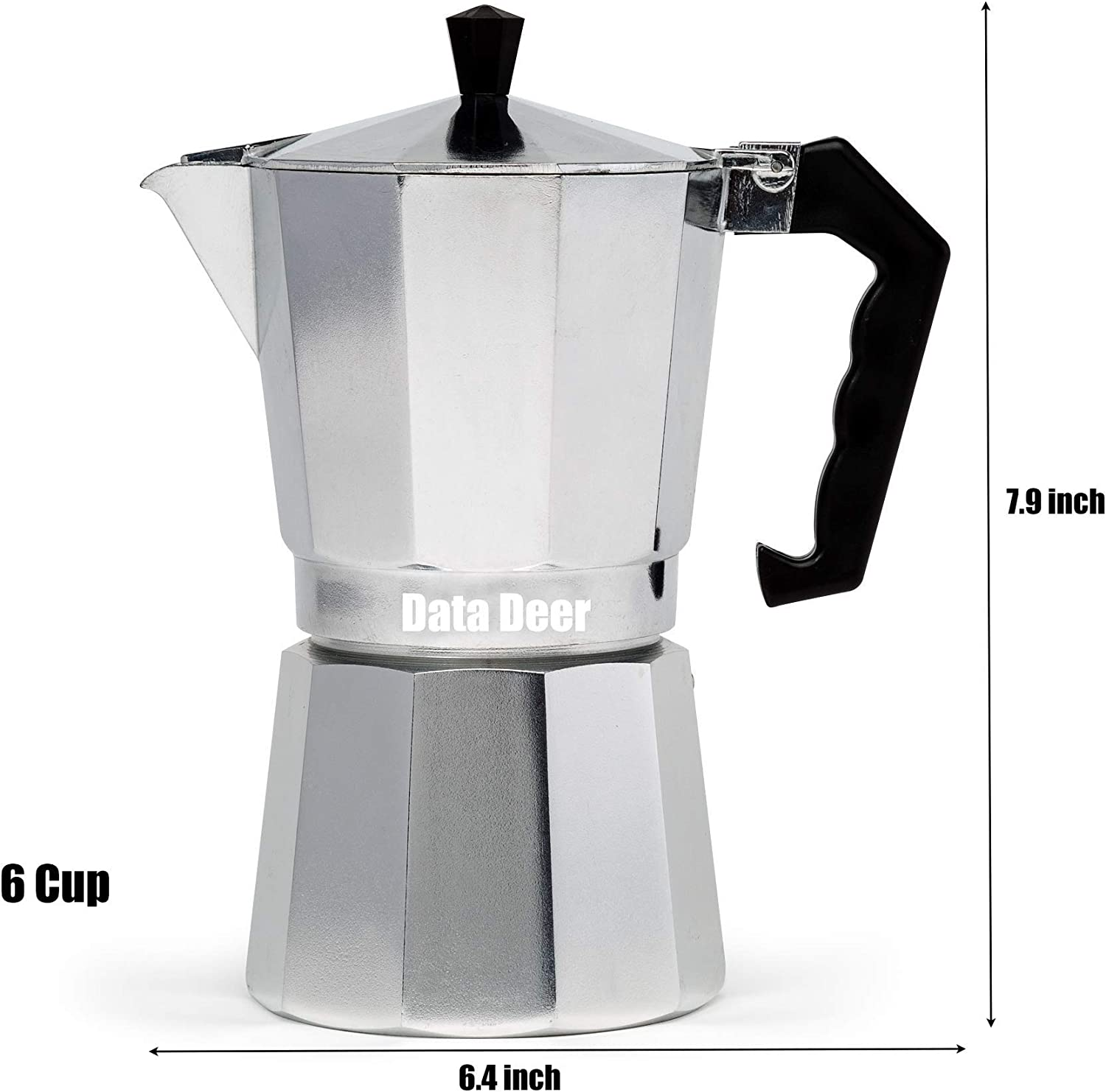 Data Deer Aluminum Stovetop Espresso Maker Moka Pot Coffee Maker for Gas Stove 6-Cup//12-Oz Easily to Make Italian Espresso or Latte,Silver 1cup Camping Stove,Electric Stove