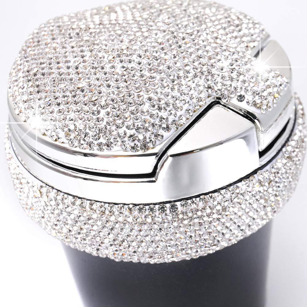 Kitchen-dream Auto-Aschenbecher Holder Zigarette und Auto Non-Slip Matte f/ür Aschenbecher Bling Crystal Diamond-Zylinder Aschenbecher Auto Ascher mit LED