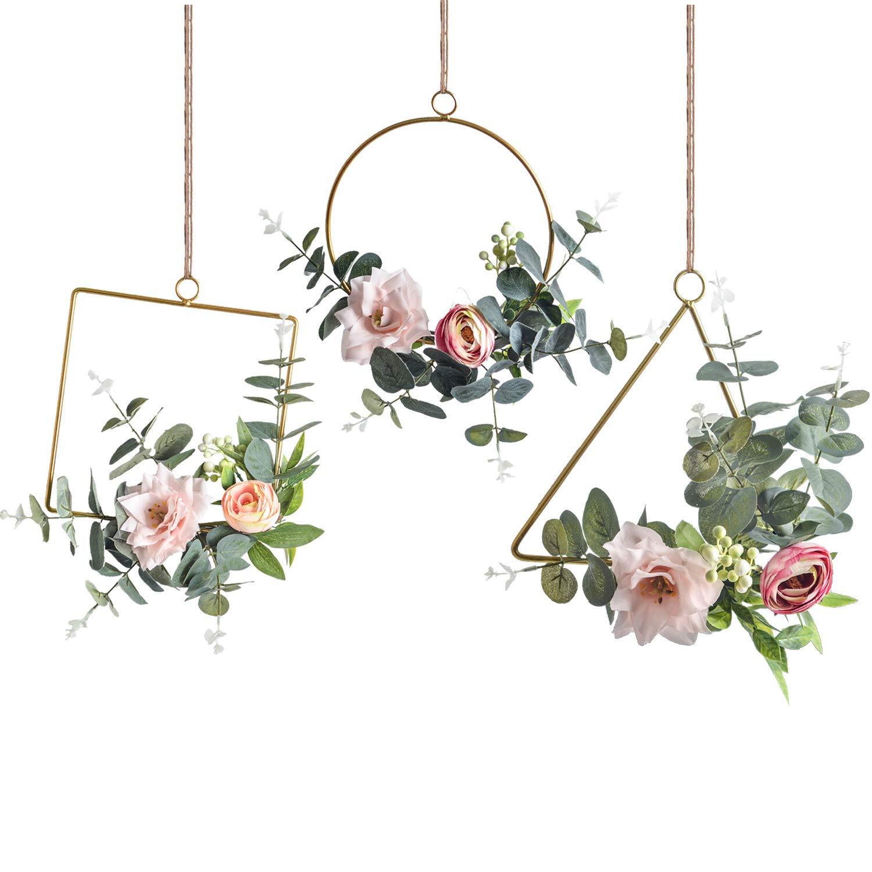 Pauwer Floral Hoop Wreath Set of 3 Artificial Flower Hanging Wall Hoop Garland Wedding Nursery Wall Decor (Clematis with Tea Rose) by Pauwer