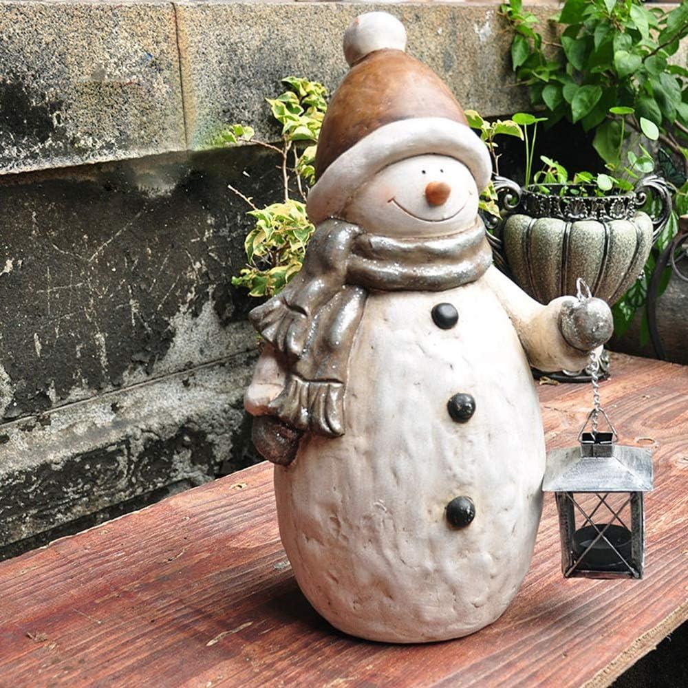 屋外庭置物 素朴なレトロランタン雪だるまオーナメントホームガーデンガーデニングクリスマス酸化マグネシウム装飾彫刻 (色 : 白, サイズ : 26x42CM)