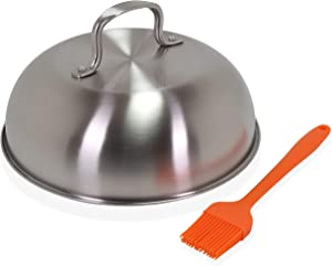 Beatherly 9 inch Stainless Steel Basting Cover Cheese Melting Dome, Tall Steam Cover for Veggies on Griddle, BBQ, Oven and Grill, Ideal for Burgers and Sandwiches and Comes with Silicone Basting Brush