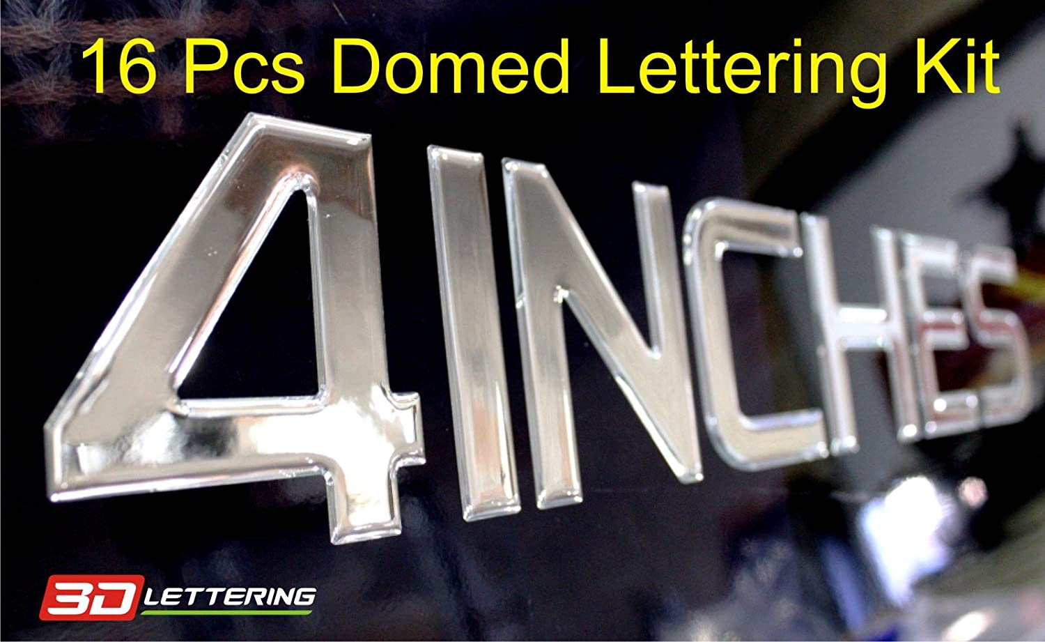 Registration Numbers or Custom Lettering Domed Lettering /& Numbers 4 Inches 4 = 101.6 mm, 16 Pcs Kit Chrome Domed