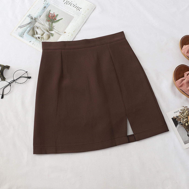 Falda Falda A Cuadros Falda De Mujer Split A-Line De Cintura Alta Mini Faldas Lindas Estilo Faldas Casuales Elegantes para Mujeres