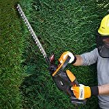 VonHaus 20V Max. Li-Ion Cordless Hedge Trimmer with 20-inch Blade, Blade Cover and Battery Included