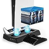 UeeVii Soporte vertical para consola PS5 y consola Playstation 5, estación de carga PS5 con ventilador de refrigeración para