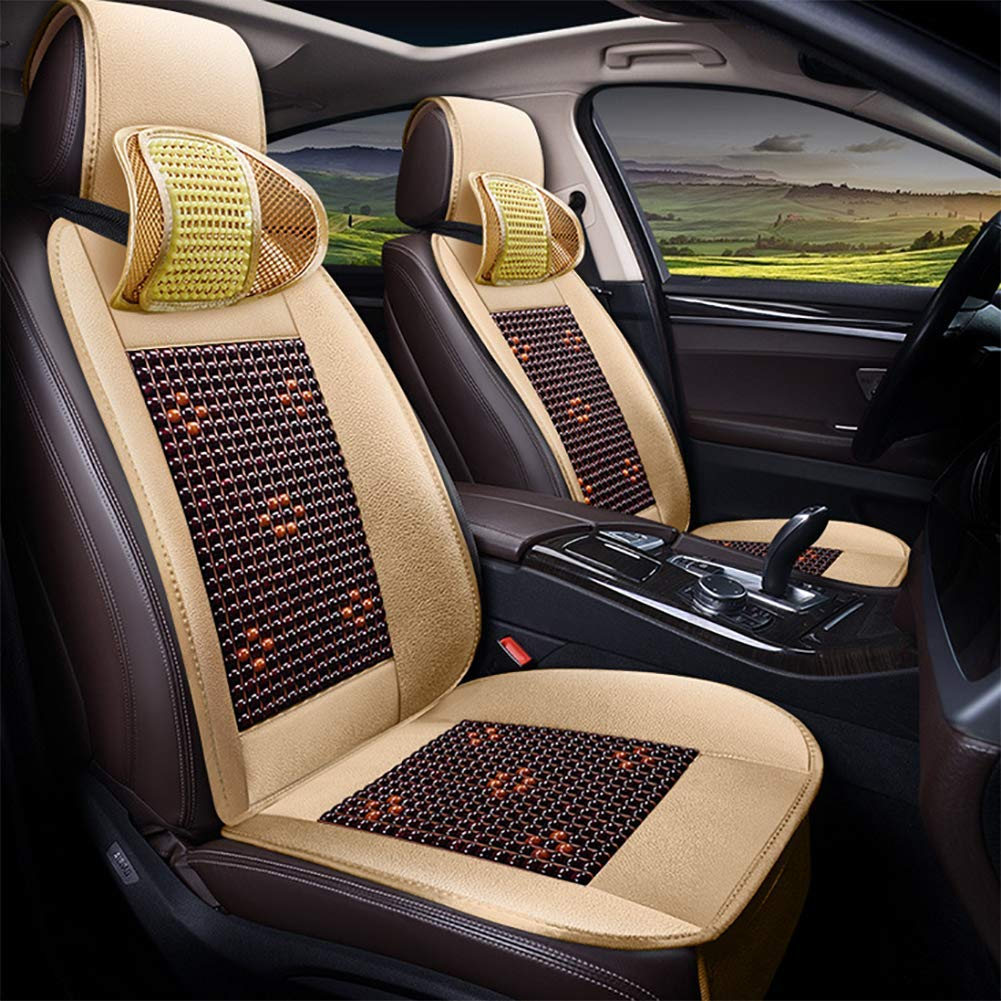Beige Auto Car Seat Cover Cushion,Wooden Bead Cool and Refreshing Suitable for Summer, Massage Breathable Seat Cover