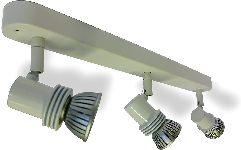 White Ceiling /& Wall Spotlight with Three GU10 Heads on Wallbar Triple Spotlights Wall Bar