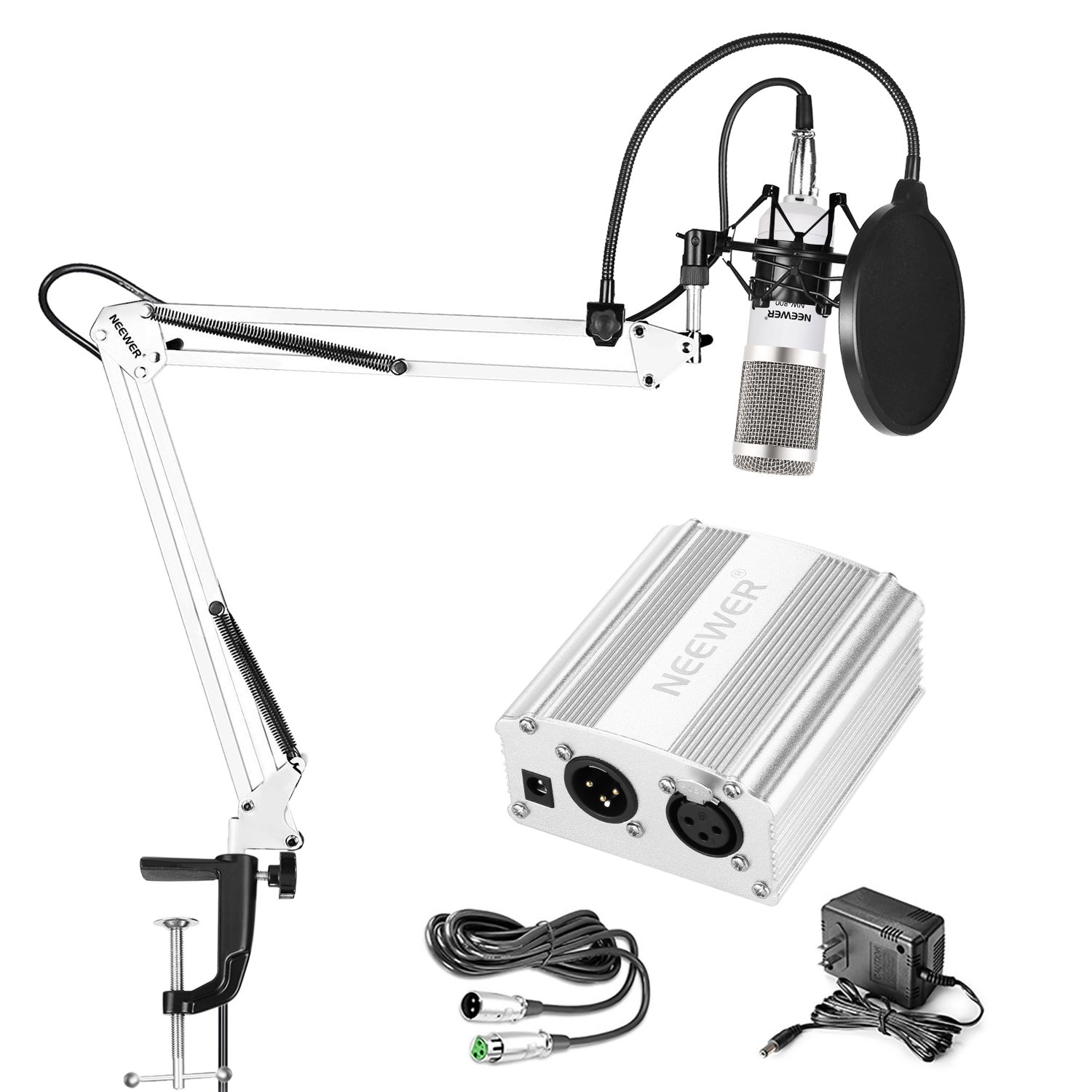 Neewer Condenser Microphone(White/Silver) Kit Includes Adjustable Suspension Boom Scissor Arm Stand, Shock Mount, Pop Filter, 48V Phantom Power Supply for Radio, Studio, Stage, and TV Stations 40093602