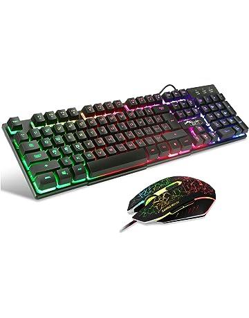 BAKTH Teclado y Ratón para Juegos, Color del Arco Iris USB LED Retroiluminada del Gaming