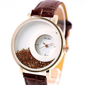 Reloj de pulsera de diamantes de imitacion - MXRE Reloj de pulsera de diamantes de imitacion de cuero de imitacion para mujeres marron: Amazon.es: Relojes