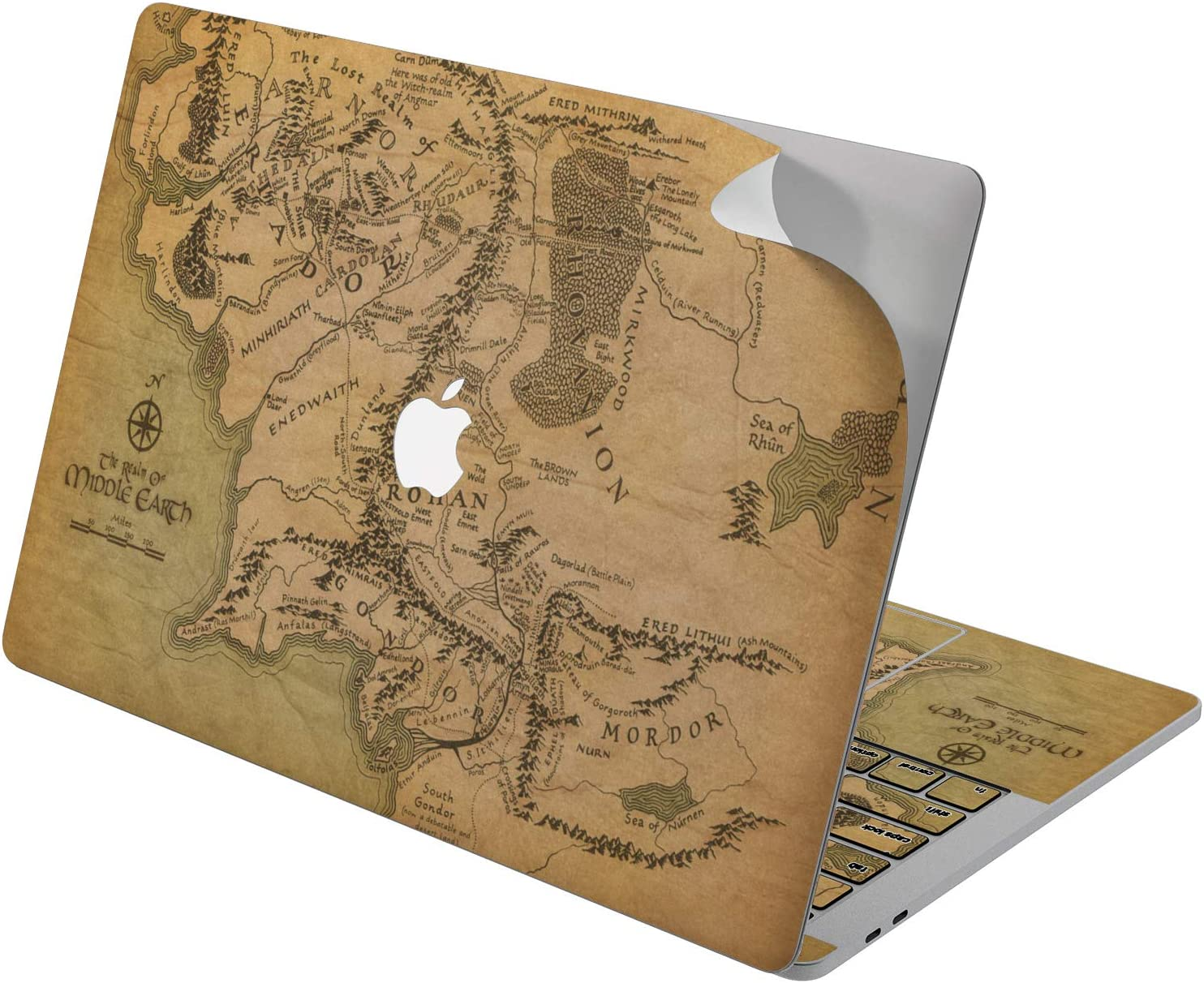 """Cavka Vinyl Decal Skin for Apple MacBook Pro 13"""" 2019 15"""" 2018 Air 13"""" 2020 Retina 2015 Mac 11"""" Mac 12"""" Especial Cover Print Design Sticker Protective Middle Earth The Lord of The Rings Map Laptop"""