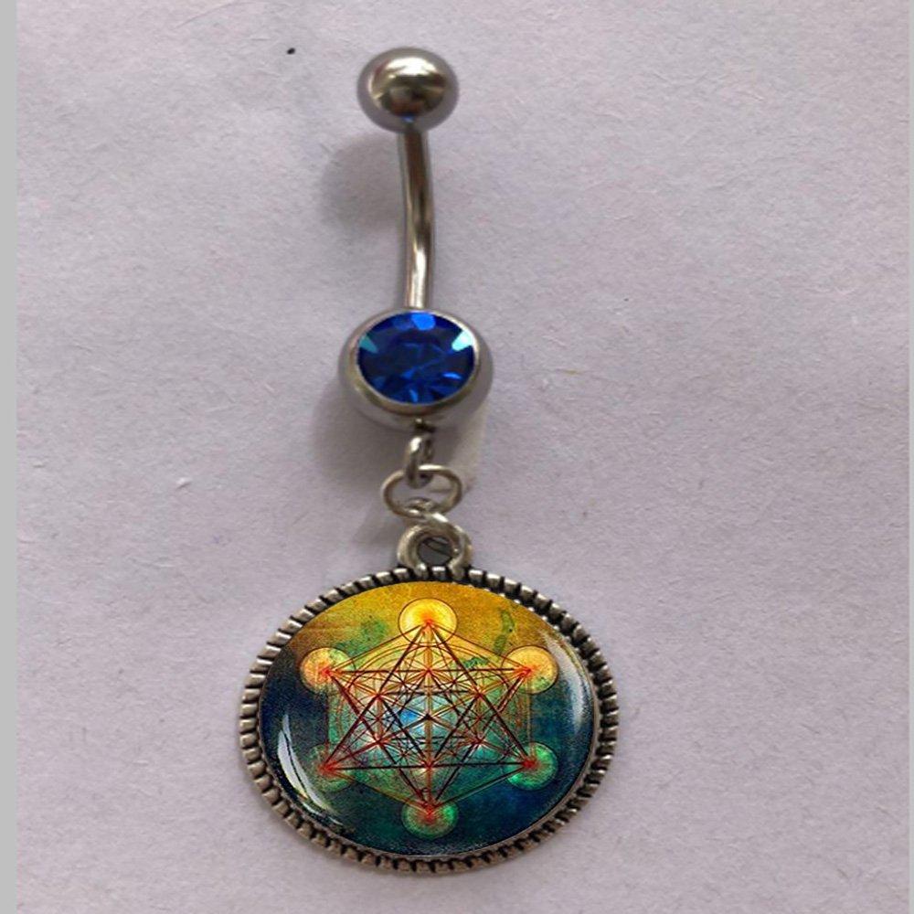 Anillo de ombligo Metatron, joyería de geometría sagrada, collar ...