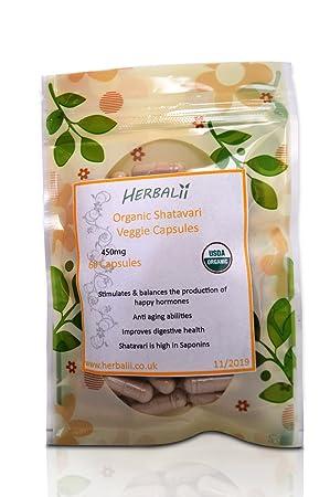 Cápsulas de Shatavari (Vegetariano) | Certificado Orgánico | 450mg| Cápsulas de Asparagus (90)