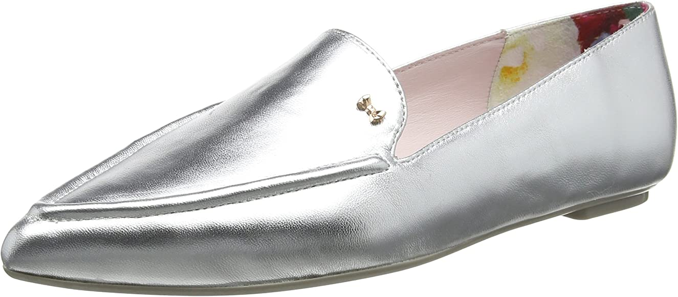 Ted Baker Ladies Silver leather Loafers// Moccasins
