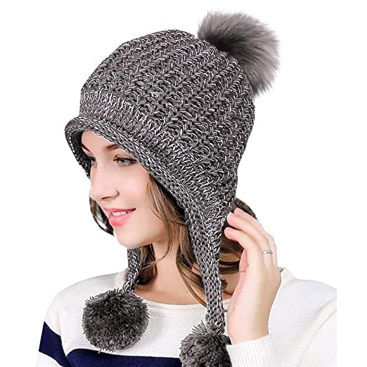 445a9c90eb2 Feiw Women Winter Thick Beanie Hat Ski Ear Flaps Caps Dual Layered (Gray)