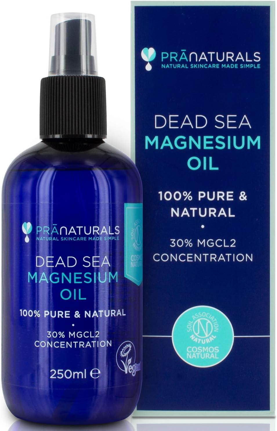 PraNaturals Dead Sea Magnesium Oil Spray 250ml, Ayuda para el sueño natural, ayuda a calmar el dolor muscular y los calambres | Certificación de Cosmos Natural, Vegan y Soil Association.