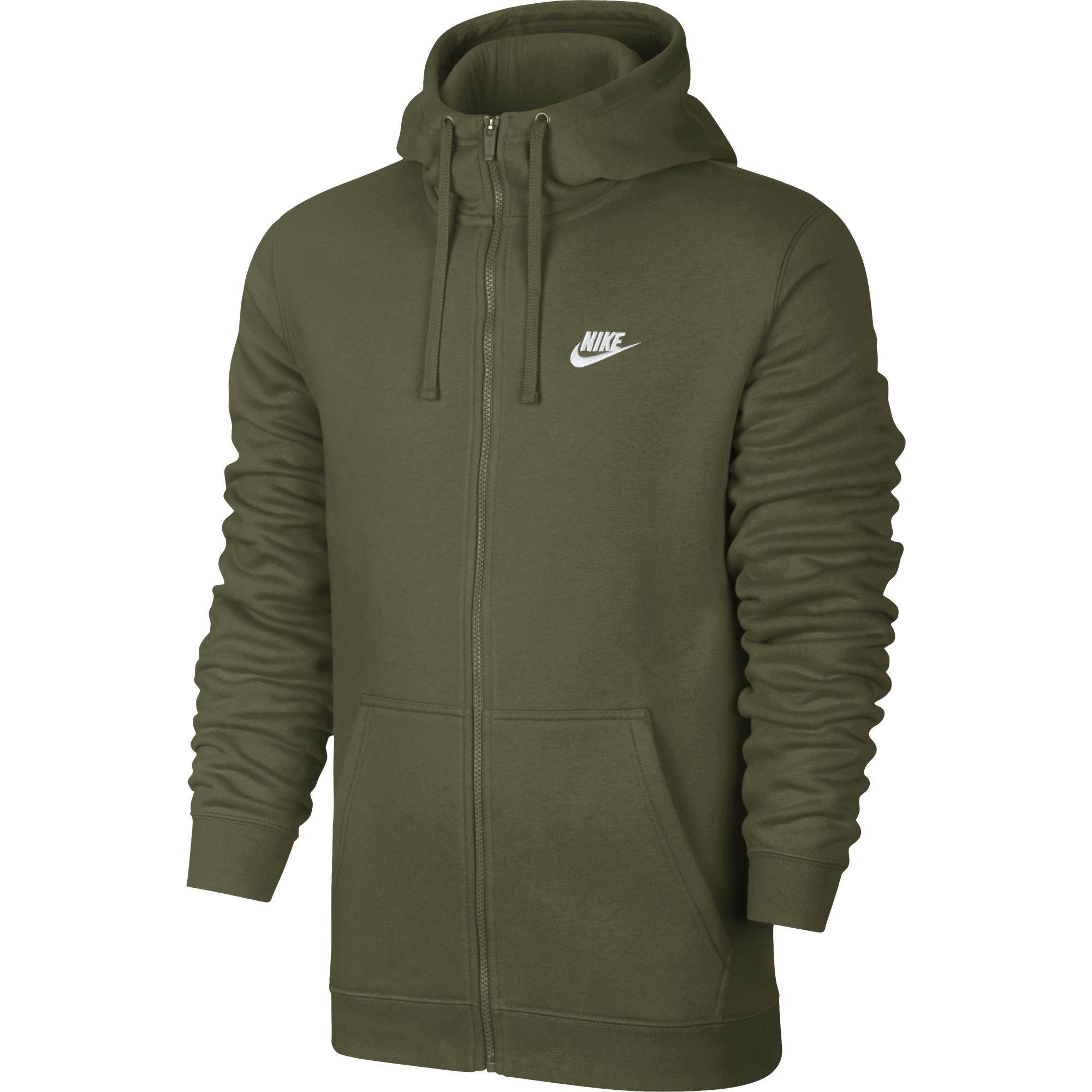 Nike NSW Club Fleece Hoodie Mens 804389 395 Olive Green Full Zip Hoody Size L
