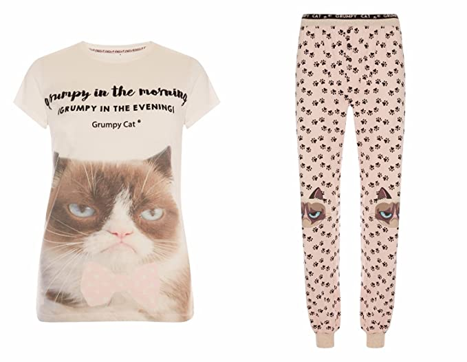 Ladies Gruñón Cat pijama camiseta y polaina rosa Pink/Cream M