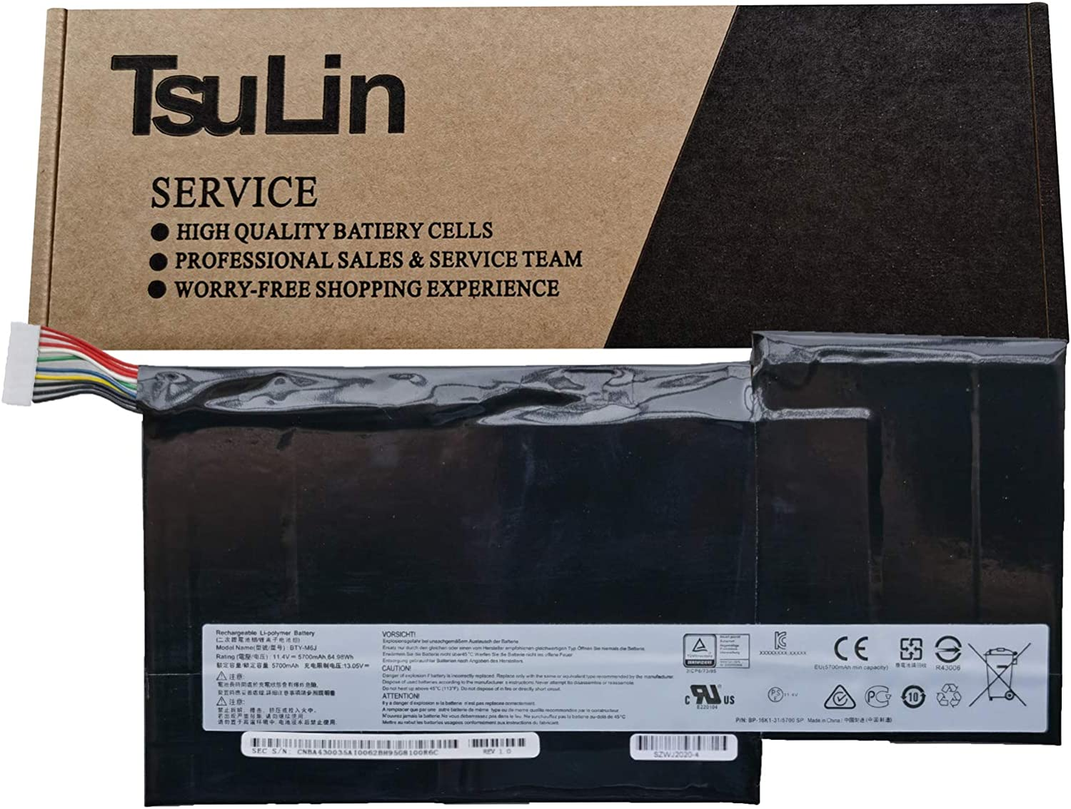 TsuLin BTY-M6J Laptop Battery Replacement for MSI GS63 GS63VR GS73 GS73VR 6RF Stealth Pro 6RF-001US BP-16K1-31 Series Notebook BTY-U6J BP-16K1-31 11.4V 64.98Wh 5700mAh