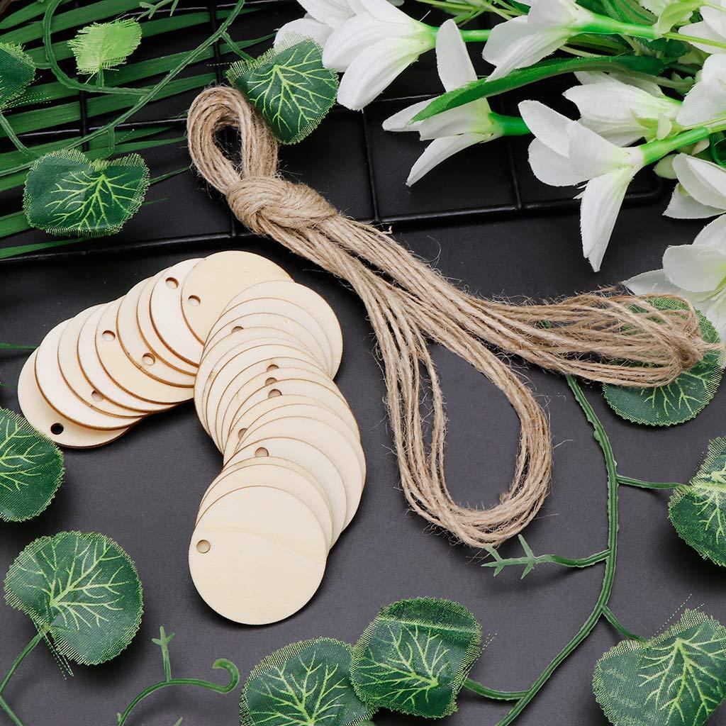 Wanfor 25pcs Bricolage copeaux de Bois Naturel Ronde /étiquette Suspendue pour Cartes de faveur de Noce d/écoration Cadeau