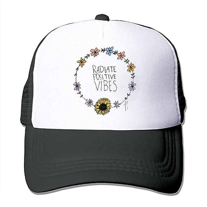 34c25cfb7e923 ZMvise Unisex Flower Good Vibes Radiate Positive Quote Custom Printed Cute Baseball  Cap Trucker Mesh Hat at Amazon Men s Clothing store