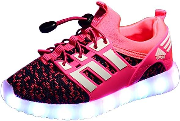 Yeeper LED Zapatillas de 7 Colores de Luces con USB de Carga Transpirables para los Niños y los Adolescentes 1832: Amazon.es: Zapatos y complementos