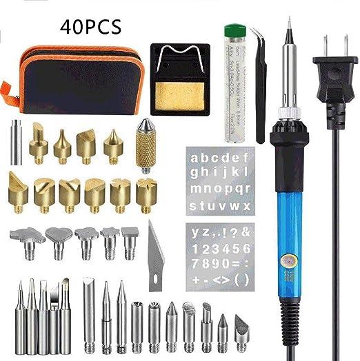 71 PCS Kit de Pyrogravure Fer à Souder 60W Pyrograveur Professionnel sur Bois//