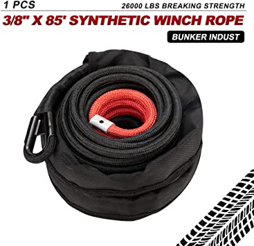 """95/' x 3//8/"""" Synthetic Winch Rope Cable 22000 LBs w// All Rock Guard Cover Blue 4W"""