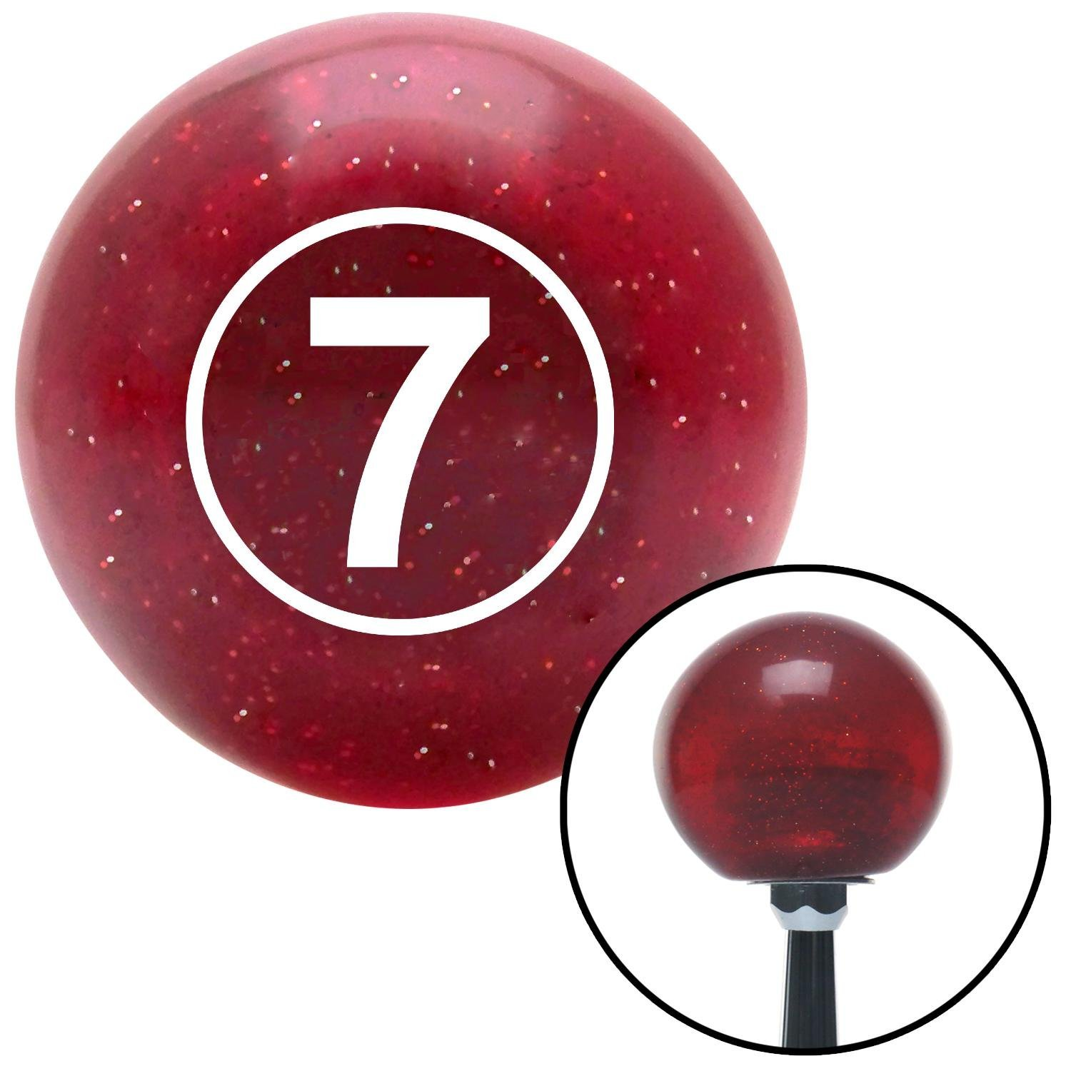 White Ball #7 American Shifter 47513 Red Metal Flake Shift Knob with 16mm x 1.5 Insert