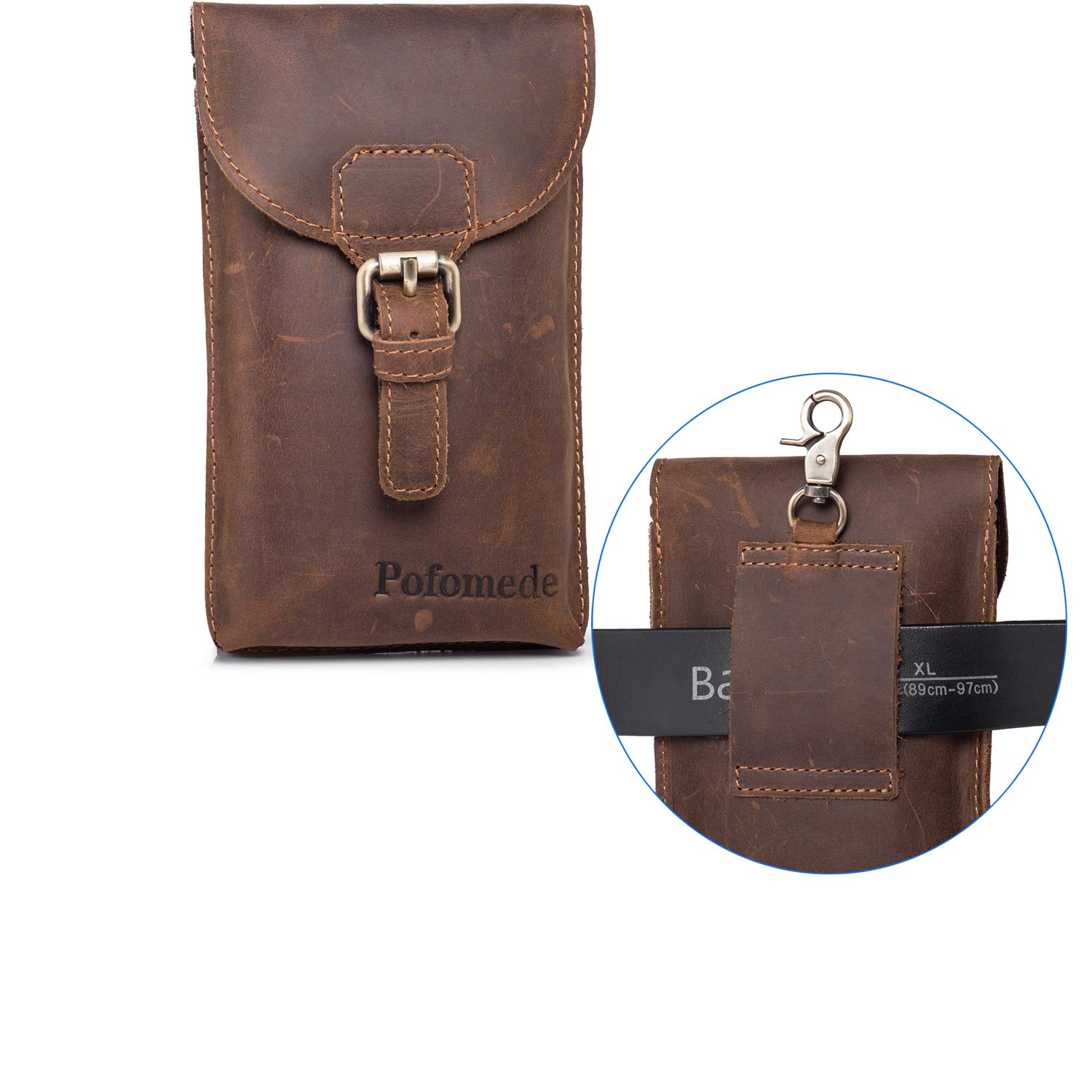 Pofomede Cell Phone Holster Vertical Leather Belt Case Pouch with Clip Loop Compatible for iPhone XR XS X 7 8 Plus XS Max Belt Carrier Holder Large Phone Sleeve for Galaxy S8/9 Plus Note 9 8 5 Brown