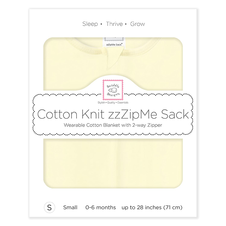Large Pastel Yellow SwaddleDesigns Cotton Sleeping Sack with 2-Way Zipper