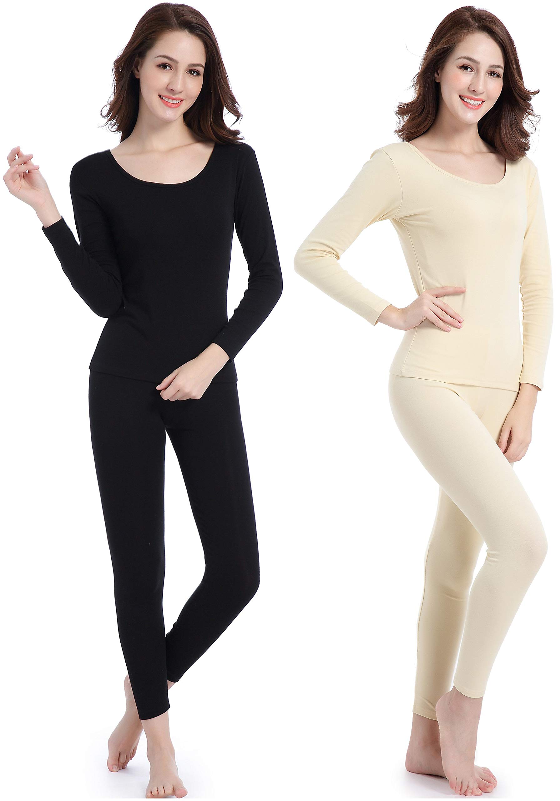 Thermal Underwear Womens Clothing Base-Layer Crew Neck Smooth Long Johns Set by Ferrieswheel Story