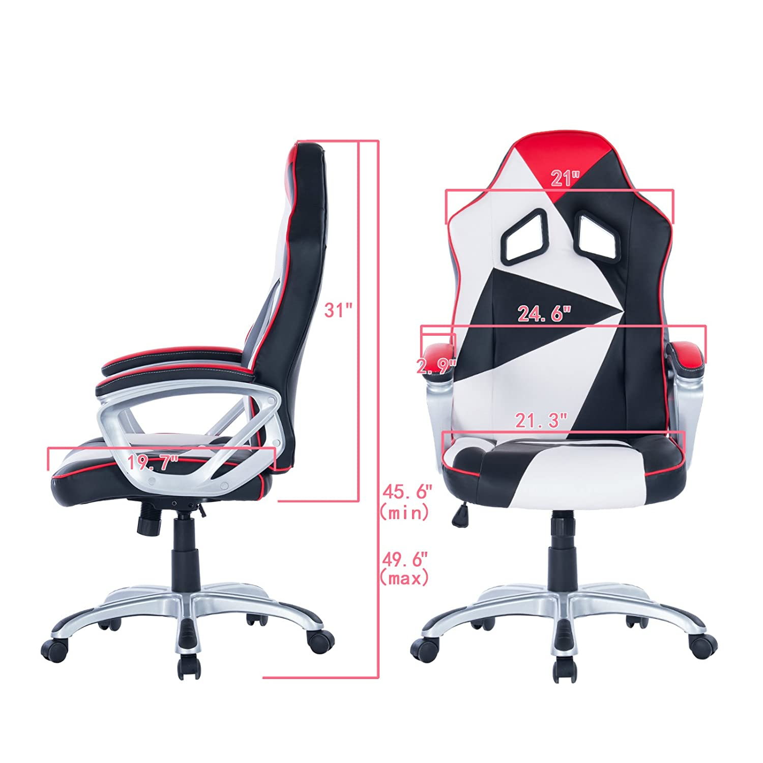 Amazon.com: Killbee Large Gaming Chair Swivel Executive Office Chair Adjustable High-Back Desk Chair Leather Bucket Seat (Black and White): Kitchen & Dining